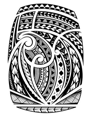 Illustration pour Maori ornament sleeve tattoo including ancient  indigenous polynesian style - image libre de droit