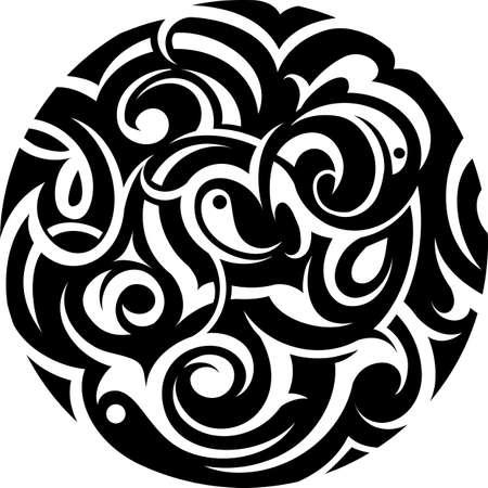 Illustration pour Tribal art tattoo in circle shape - image libre de droit