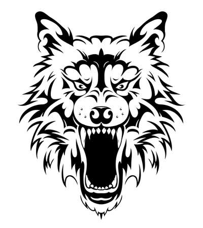 Illustration pour Wolf head tribal tattoo vector illustration - image libre de droit