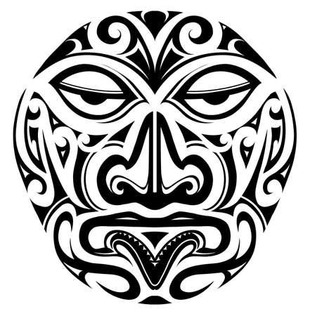 Illustration pour Polynesian indigeous mask design as a tattoo shape - image libre de droit