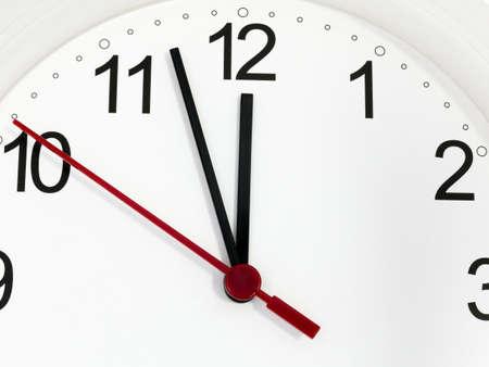 Photo pour Closeup white clock ticking showing twelve hours. Time concept. - image libre de droit