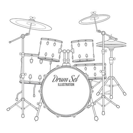 vector dark outline drum set on white background bass tom-tom ride cymbal crash hi-hat snare stands