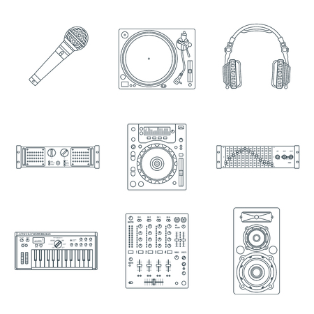 vector various dark outline sound dj equipment devices technical illustration icons set white background