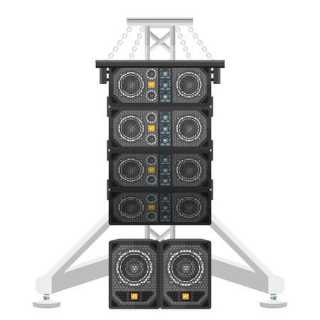 vector colored flat design line array loudspeakers satellites suspended metal truss subwoofers isolated illustration on white background