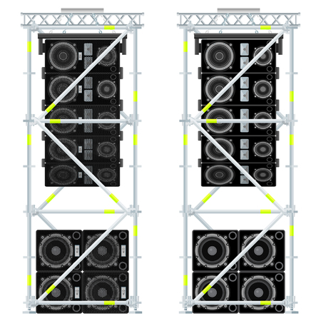 vector colored flat design event line array massive loudspeakers satellites suspended metal scaffold subwoofers isolated illustration white background