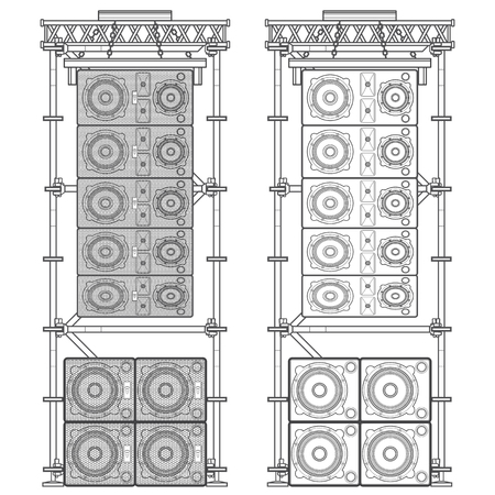 vector monochrome outline event line array massive loudspeakers satellites suspended metal scaffold subwoofers isolated illustration white background