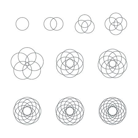 Illustration pour vector circle black outline monochrome variations sacred geometry decoration elements collection isolated white background - image libre de droit