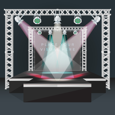 vector black color flat design high empty fashion podium stage metal truss banner back moving light heads rgb led devices night event background isolated illustration