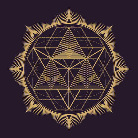 Illustration pour vector gold monochrome design abstract mandala sacred geometry illustration triangles lotus isolated dark brown background - image libre de droit