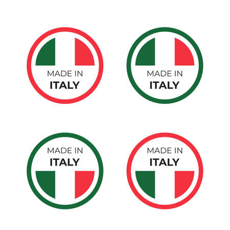 Illustration pour Made in Italy product symbol vector illustration design of italian badge and emblem inspired by concept of red and green national flag - image libre de droit