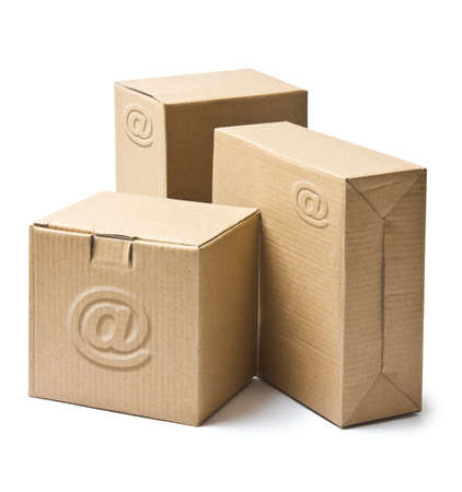 Cardboard boxes for goods and products isolated on white background
