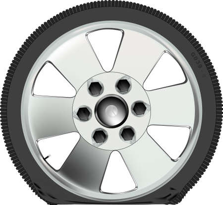 A punctured low profile tyre on an alloy wheel