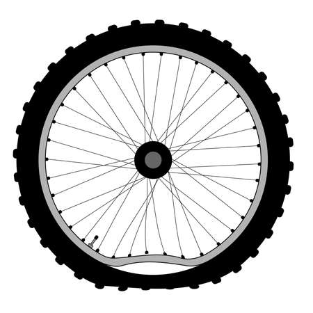 A buckled bicycle wheel and knobly tyre