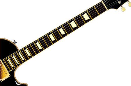 A definitive rock and roll guitar in black, isolated over a white background