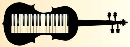 A piano keybboard set into a violin silhouette