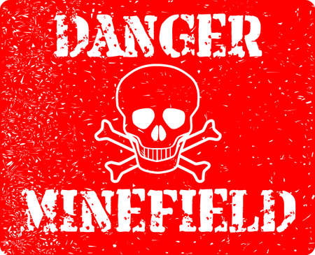 The sign from a typical minefield isolated over a white background