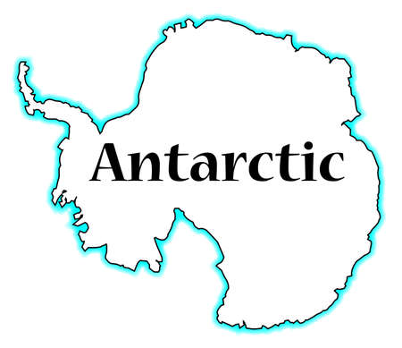Outline map of Antarctic over a white background