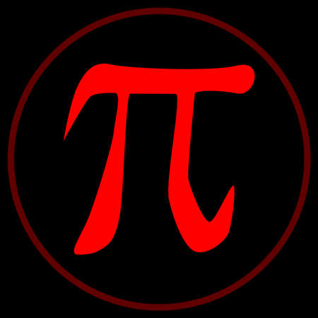 The constant Pi inside a red circle over a black background