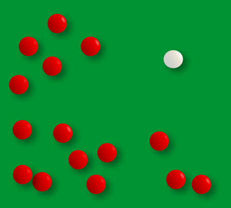 A white billiard ball next to the reds after the break