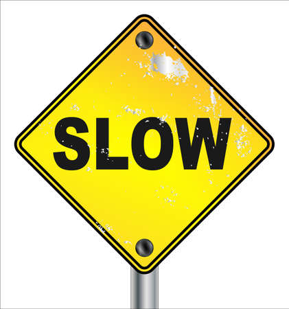 A slow yellow square traffic sign with damage and isolated on a white background