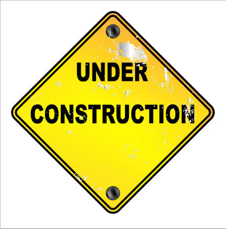 Yellow under construction traffic sign over a white background