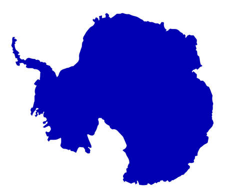 Silhouette map of Antarctic over a white background