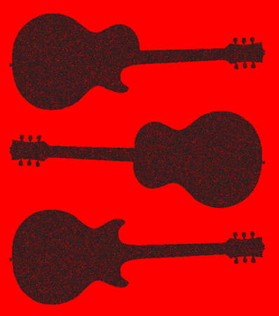 Traditional guitar shape silhouettes in doted over a red background