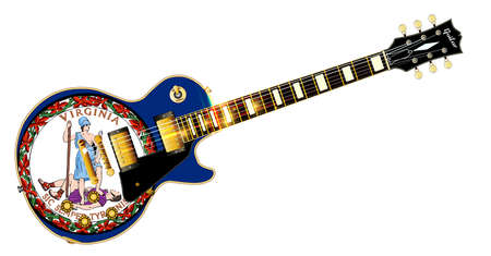 The definitive rock and roll guitar with the Virginia State flag seal flag isolated over a white background.