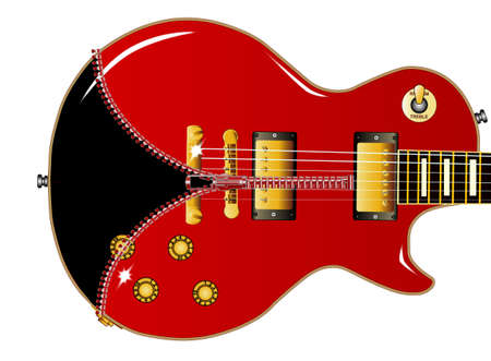 The definitive rock and roll guitar with a red body being unziped to show a black guitar within