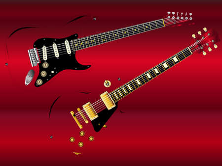 Iconic rock guitars on a red background