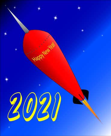 Illustration pour A retro look rocket ship with the message 'Happy New Year 2021'. - image libre de droit