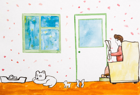 Children's drawing of woman reading newspaper and pets