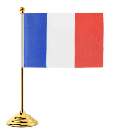 Gold flagpole hanging the flag of France,Isolated on the white background