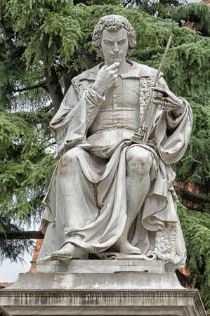 Italy, Evangelista Torricelli stone statue in Faenza.