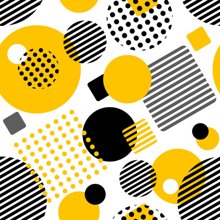 Geometric seamless pattern with circles, squares, stripes and dots. Pattern for fashion and wallpaper. Vector illustration.