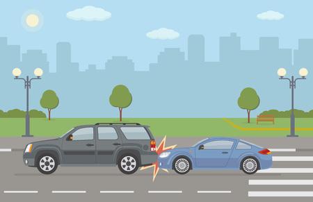 Illustration pour Auto accident involving two cars, on city background. Vector illustration. - image libre de droit