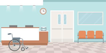 Illustration pour Hospital reception. Empty nurses station. Corridor with armchairs. Flat style, vector illustration. - image libre de droit