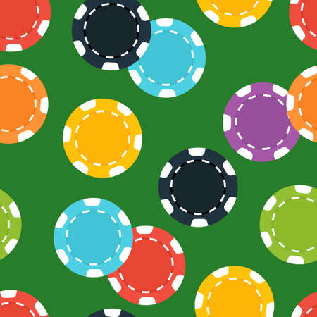Different casino chips on green background. Seamless pattern. Vector illustration.