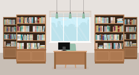 Illustration pour Modern library empty interior with bookcases, table, chair and computers. Vector illustration. - image libre de droit