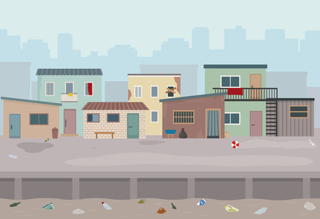 Illustration for Slum. Huts and old ruined houses at the street. Flat style vector illustration. - Royalty Free Image
