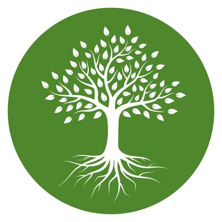 Ilustración de Silhouette of a tree with roots and leaves in circle. White color on green background. Vector illustration logo. - Imagen libre de derechos