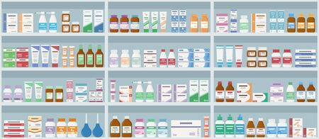 Illustration for Pharmacy shelves with medicines. Concept of pharmaceutics and medication. Seamless pattern. Vector illustration. - Royalty Free Image