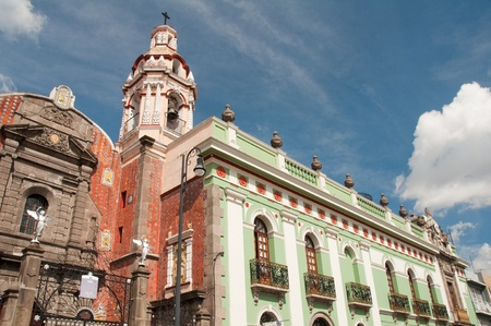 Belen Church and Army museum in the historic center of Puebla  Mexico