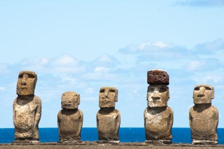 Moais in Ahu Tongariki, Easter island, Chile