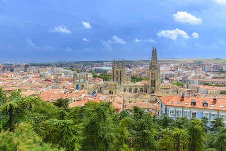 View on Burgos Cathedral from castle hill , Spain