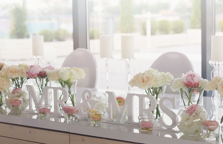 Mr and mrs wedding table decorations