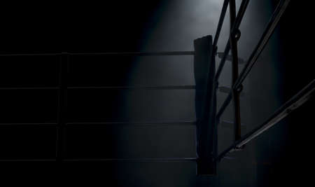 Photo pour A dramatic closeup of a dimly spotlit corner of a boxing ring surrounded by ropes on a dark isolated background - 3D render - image libre de droit