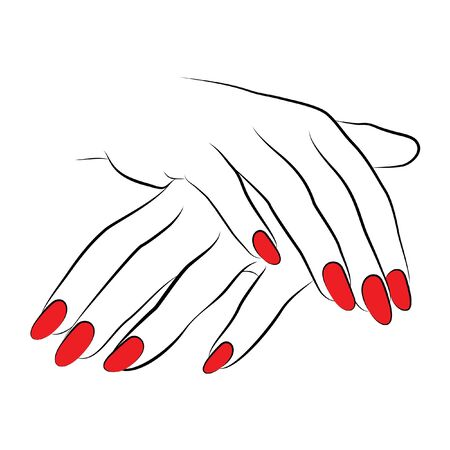 Ilustración de 2 hands vector line drawing icon with red nails - Imagen libre de derechos
