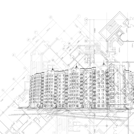 Vector architectural graphic black and white background with building and layouts