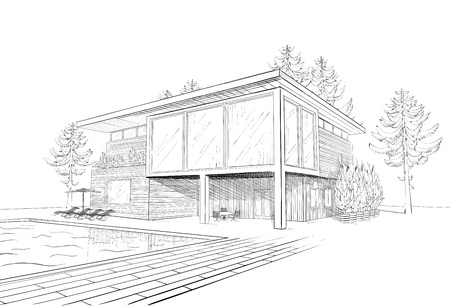 Vector black and white sketch of modern suburban wooden house with swimming pool and chaise lounges